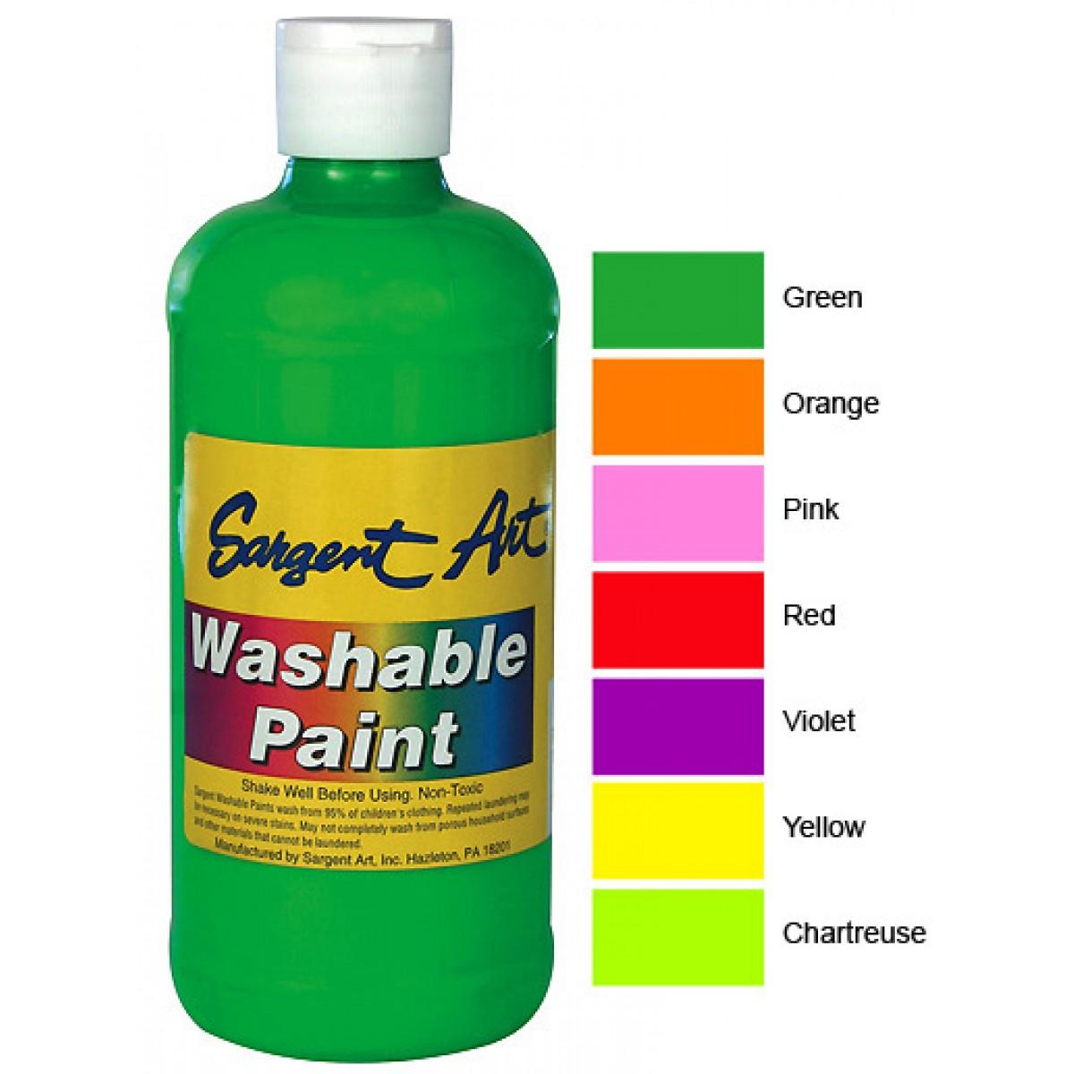 sargent washable fluorescent paint choice of 7 colors washable
