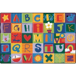 Toddler Alphabet Blocks Rug - Bright Colors