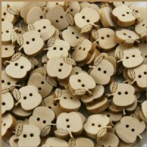Wood Small Apple Button