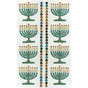 Menorah Rhinestone Stickers