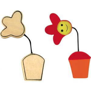 Wood Flower In Pot, with bendable wire