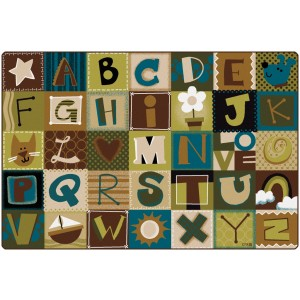 Toddler Alphabet Blocks Rug - Nature Colors